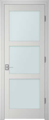 Image PBI 803H Satin White Glass Interior Door, finish Primed