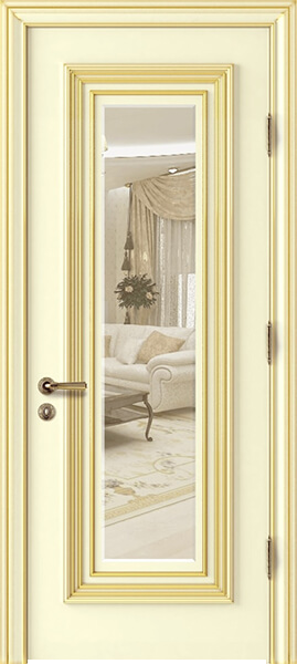 Image Palladio Uno with Mirror Interior Door, finish Ivory with Gold Patina