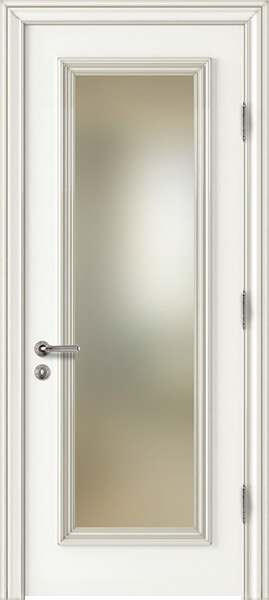 Image Palladio Uno Frosted Glass Interior Door, finish White with Silver Patina