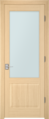 Image PBI 101A Satin White Glass Interior Door, finish Oak