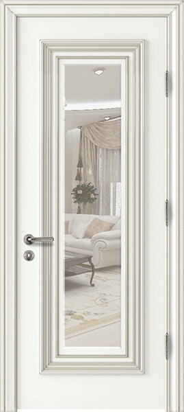 Image Palladio Uno with Mirror Interior Door, finish White with Silver Patina