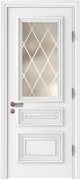 Image Palladio Tre Frosted Glass Al2 Interior Door, finish White
