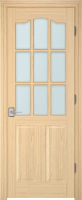Image PBI 3090S Satin White Glass Interior Door, finish Oak