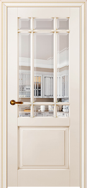 Image Royal Francette Interior Door, finish Ivory with Gold Patina
