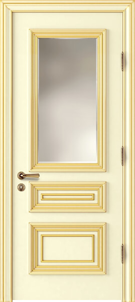 Image Palladio Tre Frosted Glass Interior Door, finish Ivory with Gold Patina