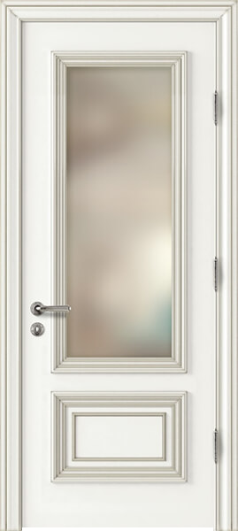Image Palladio Due Frosted Glass Interior Door, finish White with Silver Patina