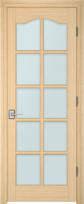 Image PBI 3100S Satin White Glass Interior Door, finish Oak