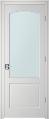 Image PBI 101AC Satin White Glass Interior Door, finish Primed