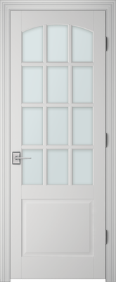 Image PBI 312AC Satin White Glass Interior Door, finish Primed