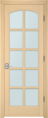Image PBI 3100C Satin White Glass Interior Door, finish Oak