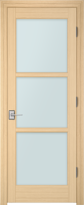 Image PBI 303M Satin White Glass Interior Door, finish Oak