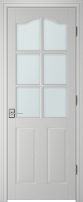 Image PBI 3060S Satin White Glass Interior Door, finish Primed