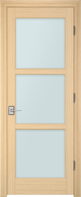 Image PBI 303L Satin White Glass Interior Door, finish Oak
