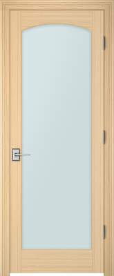 Image PBI 1000C Satin White Glass Interior Door, finish Oak