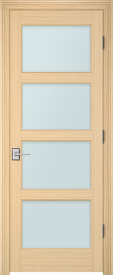 Image PBI 304H Satin White Glass Interior Door, finish Oak