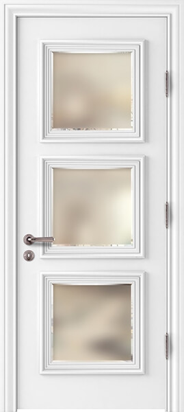 Palladio Prima Frosted Beveled Glass Interior Door White