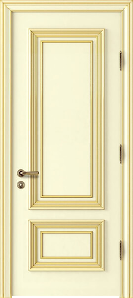 Image Palladio Due Interior Door, finish Ivory with Gold Patina