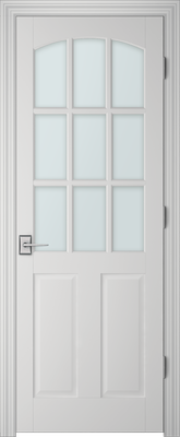 Image PBI 3090C Satin White Glass Interior Door, finish Primed