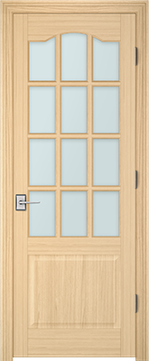 Image PBI 312AS Satin White Glass Interior Door, finish Oak