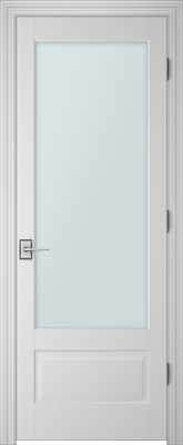 Image PBI 1010 Satin White Glass Interior Door, finish Primed