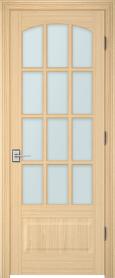 Image PBI 3120C Satin White Glass Interior Door, finish Oak