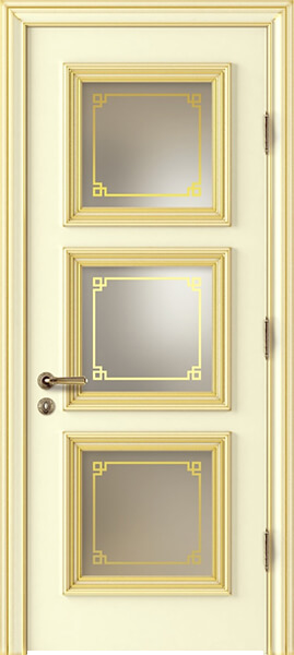 Image Palladio Prima Frosted Glass AL1 Interior Door, finish Ivory with Gold Patina