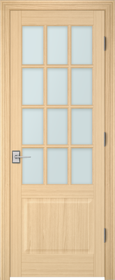Image PBI 312A Satin White Glass Interior Door, finish Oak