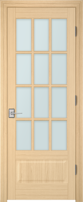 Image PBI 3120 Satin White Glass Interior Door, finish Oak
