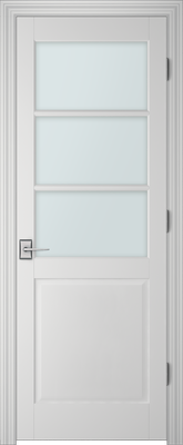 Image PBI 3037 Satin White Glass Interior Door, finish Primed