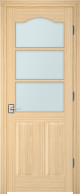Image PBI 3030S Satin White Glass Interior Door, finish Oak
