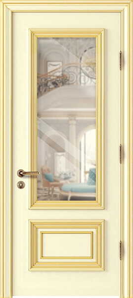 Image Palladio Due Glass Interior Door, finish Ivory with Gold Patina