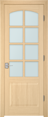 Image PBI 308AC Satin White Glass Interior Door, finish Oak