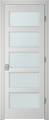 Image PBI 305H Satin White Glass Interior Door, finish Primed