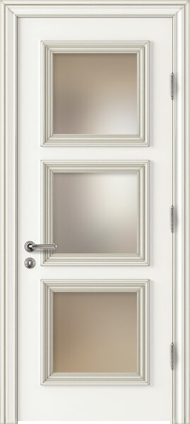 Image Palladio Prima Frosted Glass Interior Door, finish White with Silver Patina