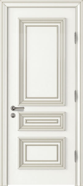 Image Palladio Tre Interior Door, finish White with Silver Patina