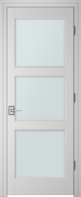 Image PBI 303H Satin White Glass Interior Door, finish Primed