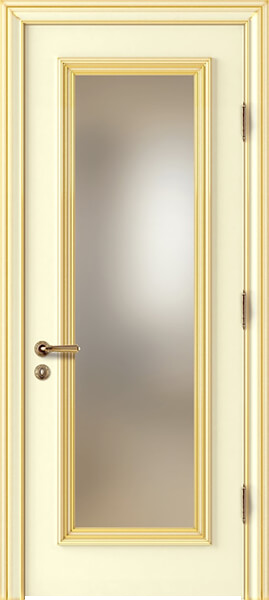 Image Palladio Uno Frosted Glass Interior Door, finish Ivory with Gold Patina