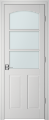Image PBI 3030C Satin White Glass Interior Door, finish Primed